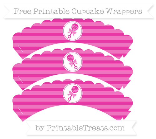 Free Hot Pink Horizontal Striped Baby Rattle Scalloped Cupcake Wrappers