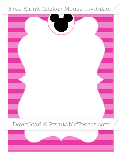 Free Hot Pink Horizontal Striped Blank Mickey Mouse Invitation