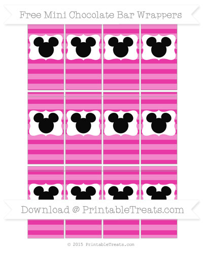 Free Hot Pink Horizontal Striped Mickey Mouse Mini Chocolate Bar Wrappers