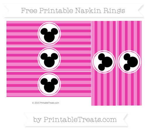 Free Hot Pink Horizontal Striped Mickey Mouse Napkin Rings