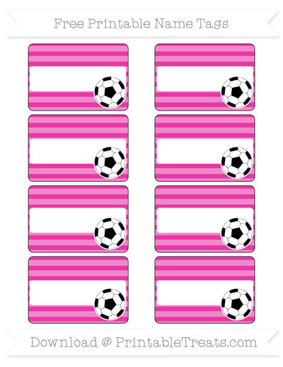 Free Hot Pink Horizontal Striped Soccer Name Tags