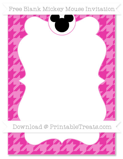 Free Hot Pink Houndstooth Pattern Blank Mickey Mouse Invitation