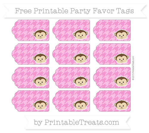 Free Hot Pink Houndstooth Pattern Boy Monkey Party Favor Tags