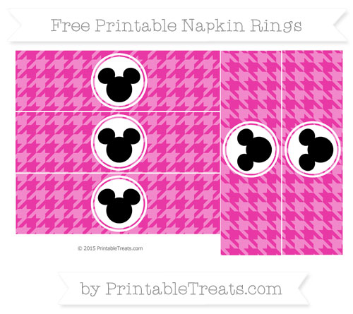 Free Hot Pink Herringbone Pattern Mickey Mouse Napkin Rings