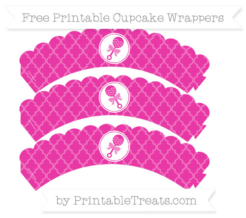 Free Hot Pink Moroccan Tile Baby Rattle Scalloped Cupcake Wrappers
