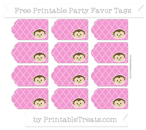 Free Hot Pink Moroccan Tile Boy Monkey Party Favor Tags