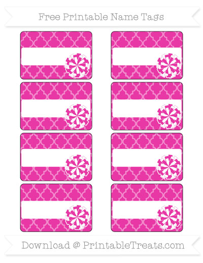 Free Hot Pink Moroccan Tile Cheer Pom Pom Tags