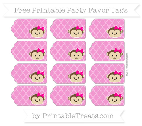 Free Hot Pink Moroccan Tile Girl Monkey Party Favor Tags