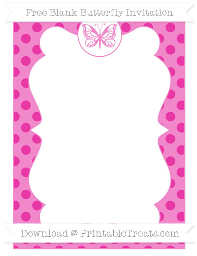 Free Hot Pink Polka Dot Blank Butterfly Invitation