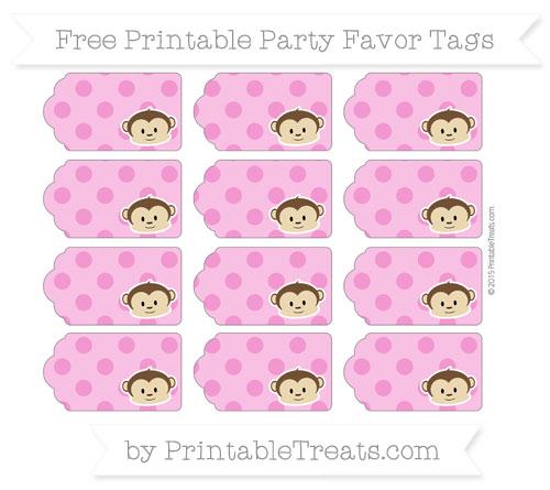 Free Hot Pink Polka Dot Boy Monkey Party Favor Tags