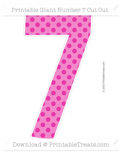 Free Hot Pink Polka Dot Giant Number 7 Cut Out