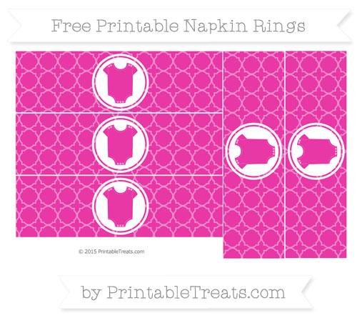 Free Hot Pink Quatrefoil Pattern Baby Onesie Napkin Rings