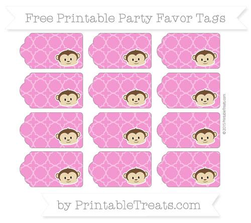 Free Hot Pink Quatrefoil Pattern Boy Monkey Party Favor Tags