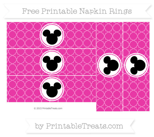 Free Hot Pink Quatrefoil Pattern Mickey Mouse Napkin Rings