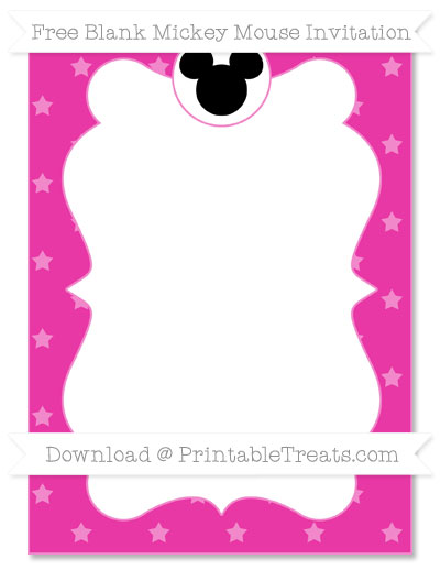 Free Hot Pink Star Pattern Blank Mickey Mouse Invitation