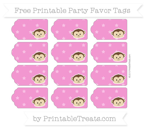 Free Hot Pink Star Pattern Boy Monkey Party Favor Tags
