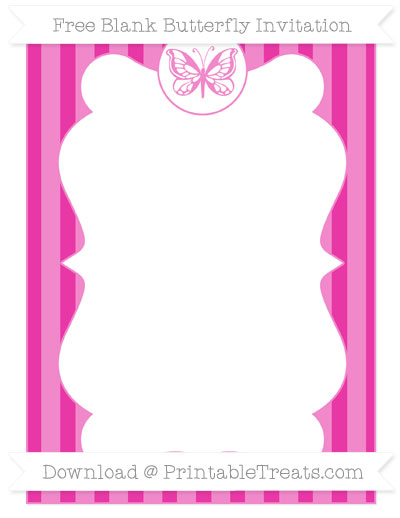 Free Hot Pink Striped Blank Butterfly Invitation