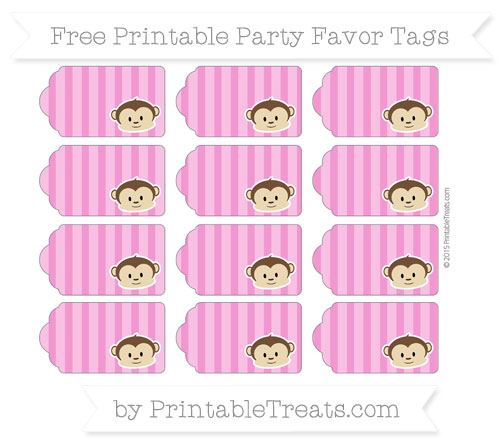Free Hot Pink Striped Boy Monkey Party Favor Tags