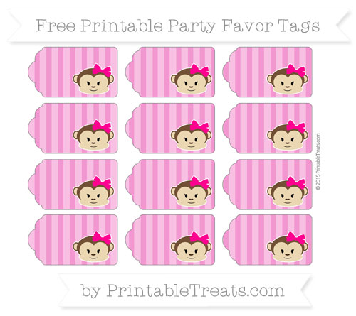 Free Hot Pink Striped Girl Monkey Party Favor Tags