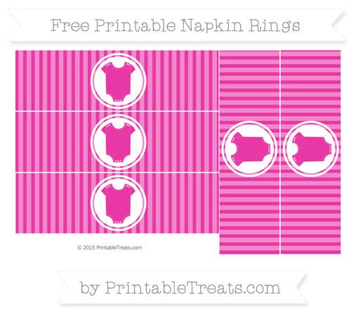 Free Hot Pink Thin Striped Pattern Baby Onesie Napkin Rings