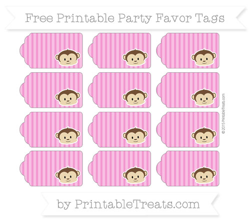 Free Hot Pink Thin Striped Pattern Boy Monkey Party Favor Tags