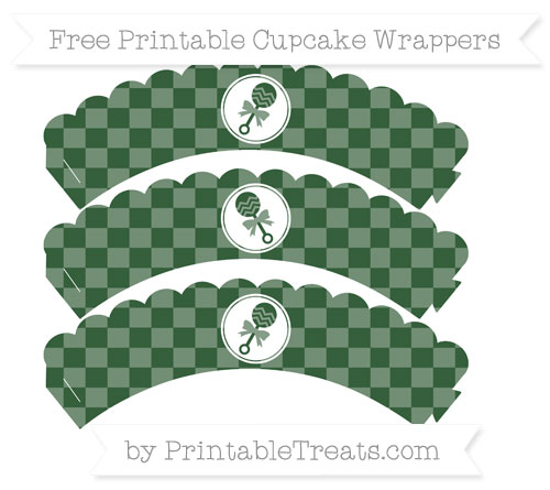 Free Hunter Green Checker Pattern Baby Rattle Scalloped Cupcake Wrappers