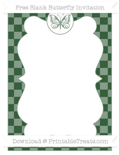 Free Hunter Green Checker Pattern Blank Butterfly Invitation