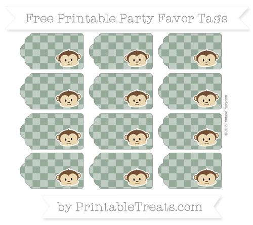 Free Hunter Green Checker Pattern Boy Monkey Party Favor Tags