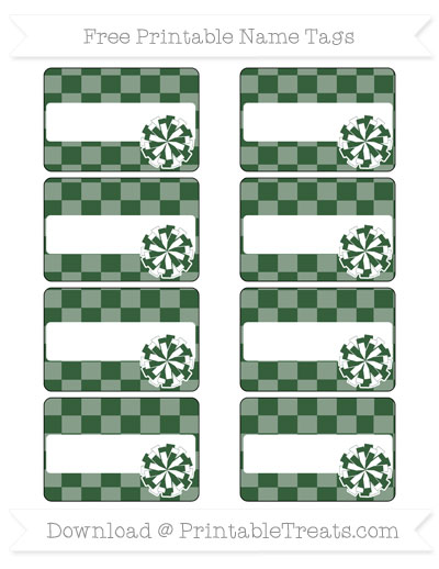 Free Hunter Green Checker Pattern Cheer Pom Pom Tags