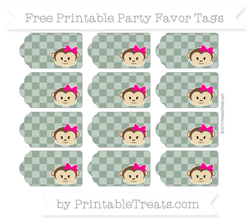 Free Hunter Green Checker Pattern Girl Monkey Party Favor Tags