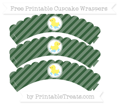 Free Hunter Green Diagonal Striped Baby Duck Scalloped Cupcake Wrappers