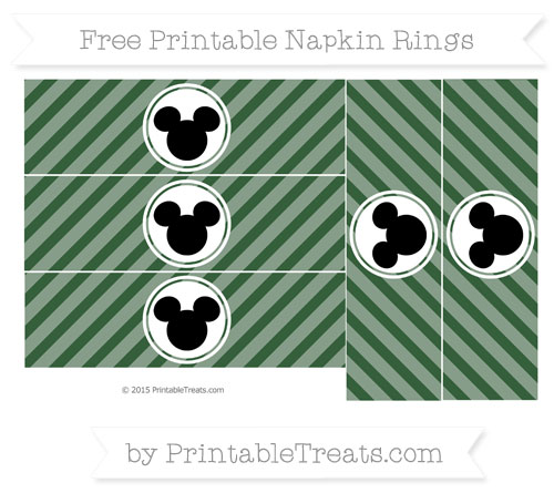 Free Hunter Green Diagonal Striped Mickey Mouse Napkin Rings