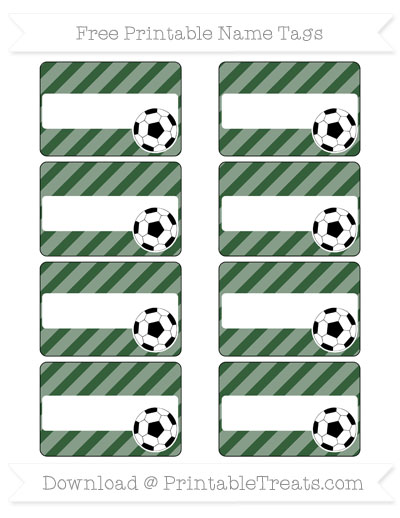 Free Hunter Green Diagonal Striped Soccer Name Tags