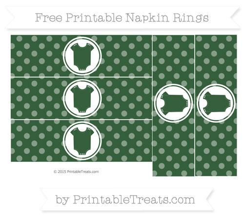 Free Hunter Green Dotted Pattern Baby Onesie Napkin Rings