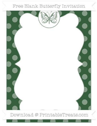Free Hunter Green Dotted Pattern Blank Butterfly Invitation
