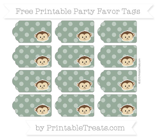 Free Hunter Green Dotted Pattern Boy Monkey Party Favor Tags