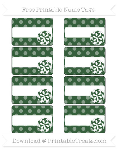 Free Hunter Green Dotted Pattern Cheer Pom Pom Tags