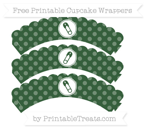 Free Hunter Green Dotted Pattern Diaper Pin Scalloped Cupcake Wrappers