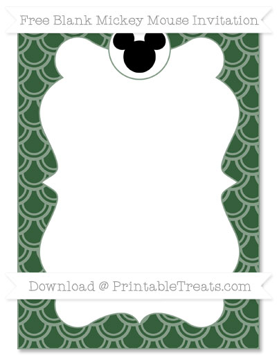 Free Hunter Green Fish Scale Pattern Blank Mickey Mouse Invitation