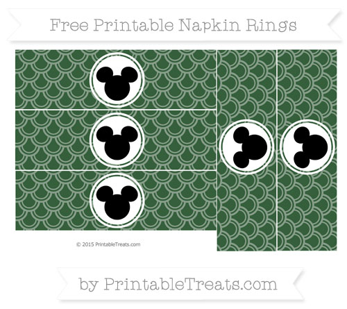Free Hunter Green Fish Scale Pattern Mickey Mouse Napkin Rings