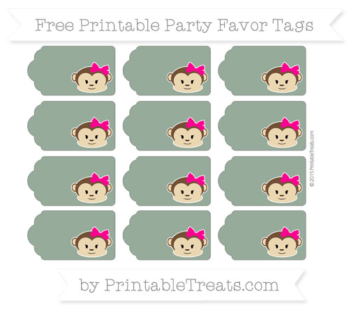 Free Hunter Green Girl Monkey Party Favor Tags