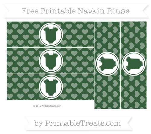 Free Hunter Green Heart Pattern Baby Onesie Napkin Rings