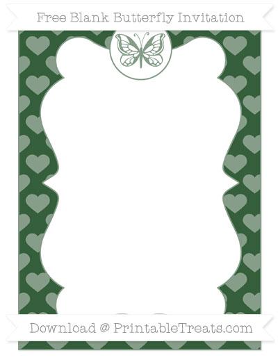 Free Hunter Green Heart Pattern Blank Butterfly Invitation