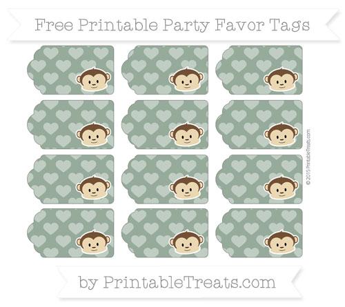 Free Hunter Green Heart Pattern Boy Monkey Party Favor Tags