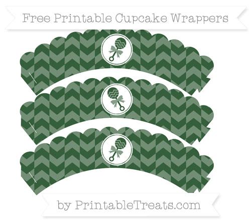 Free Hunter Green Herringbone Pattern Baby Rattle Scalloped Cupcake Wrappers