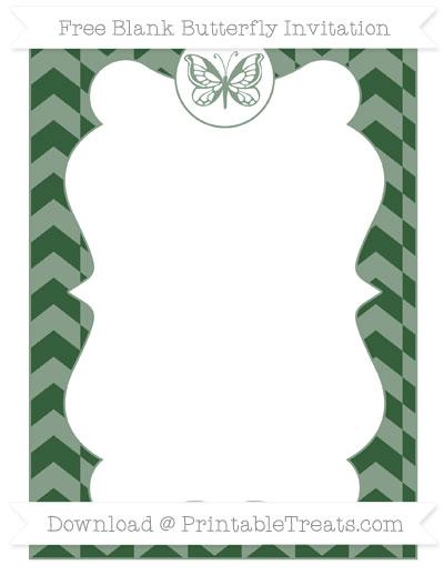 Free Hunter Green Herringbone Pattern Blank Butterfly Invitation