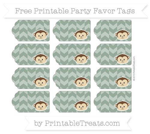 Free Hunter Green Herringbone Pattern Boy Monkey Party Favor Tags