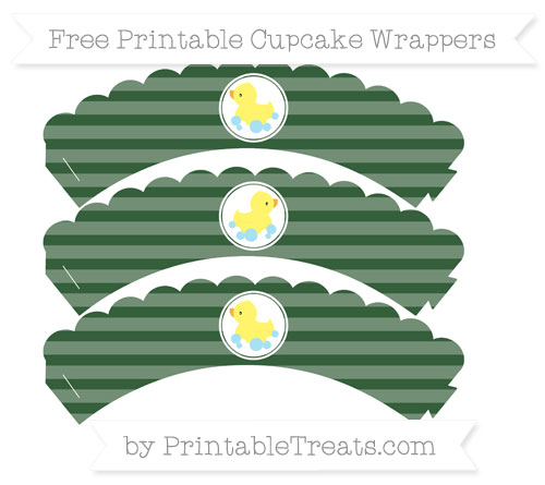 Free Hunter Green Horizontal Striped Baby Duck Scalloped Cupcake Wrappers