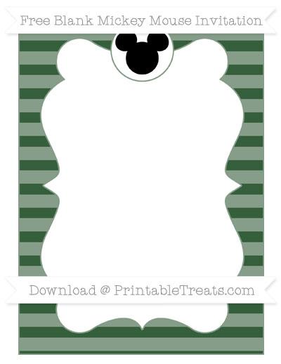 Free Hunter Green Horizontal Striped Blank Mickey Mouse Invitation