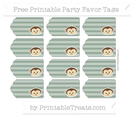 Free Hunter Green Horizontal Striped Boy Monkey Party Favor Tags